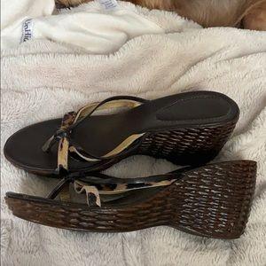 "A. Giannetti ""basket weave"" wedge sandal"